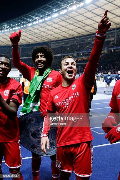 Mario Goetze of Munich celebrates after the Bundesliga match between and Hertha BSC and FC Bayern Muenchen at Olympiastadion on March 25 2014 in...