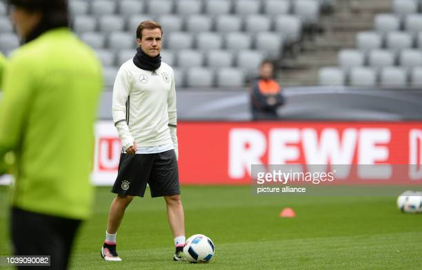Mario Goetze of the German national soccer team during the final practice at the Allianz Arena in Munich Germany 28 March 2016 Germany meets Italy in...