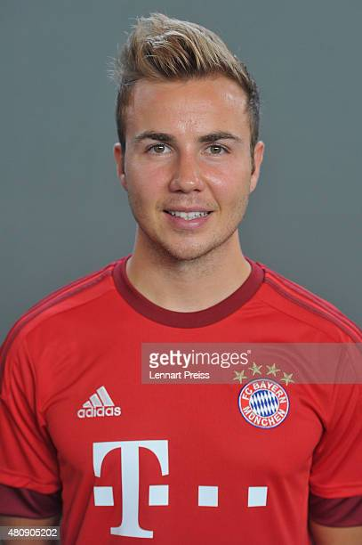 Mario Goetze poses during the team presentation of FC Bayern Muenchen at Bayern's training ground Saebener Strasse on July 16 2015 in Munich Germany