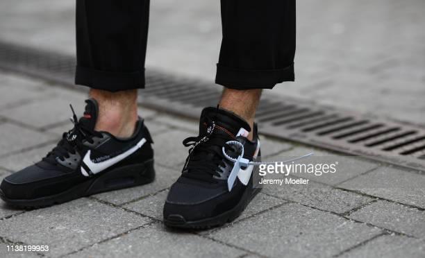 Mario Goetze wearing Nike x Off White sneaker on March 24, 2019 in Munich, Germany.