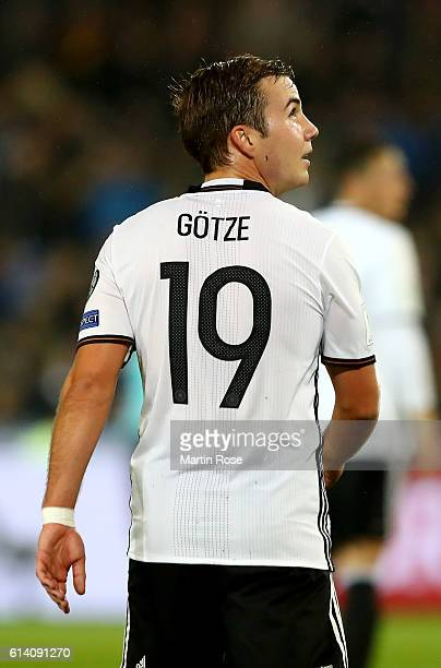 Mario Goetzel of Germany reacts during the FIFA 2018 World Cup Qualifier Group C match between Germany and Northern Ireland at HDIArena on October 11...
