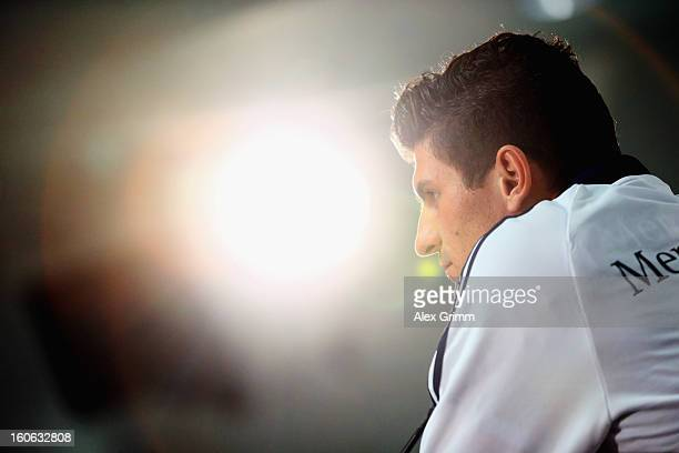Mario Gomez attends a Germany press conference at CommerzbankArena on February 4 2013 in Frankfurt am Main Germany
