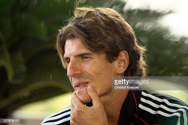 Mario Gomez attends the FC Bayern Muenchen press conference at Hotel Grand Hyatt on January 7 2011 in Doha Qatar