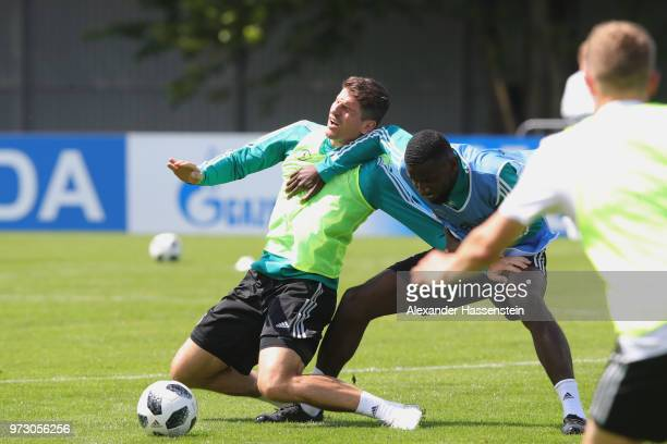 Mario Gomez battles for the ball with Antonio Ruediger during the Germany training session ahead of the 2018 FIFA World Cup at CSKA Sports Base on...