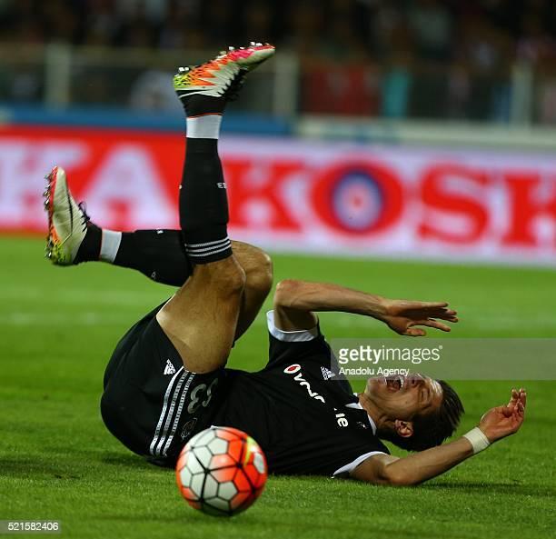 Mario Gomez Besiktas falls on the pitch during the Turkish Super Toto Super Lig football match between Medicana Sivasspor and Besiktas at the 4 Eylul...