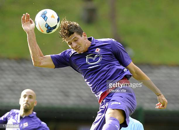 Mario Gomez of ACF Fiorentina during the preseason friendly match between AC Fiorentina and Team Trentino on July 20 2013 in Trento Italy