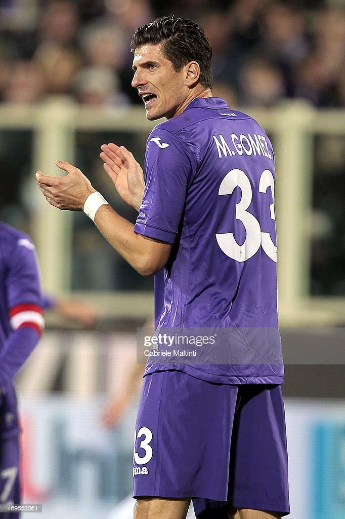 Mario Gomez of ACF Fiorentina reacts during the Serie A match between ACF Fiorentina and FC Internazionale Milano at Stadio Artemio Franchi on February 15, 2014 in Florence, Italy.