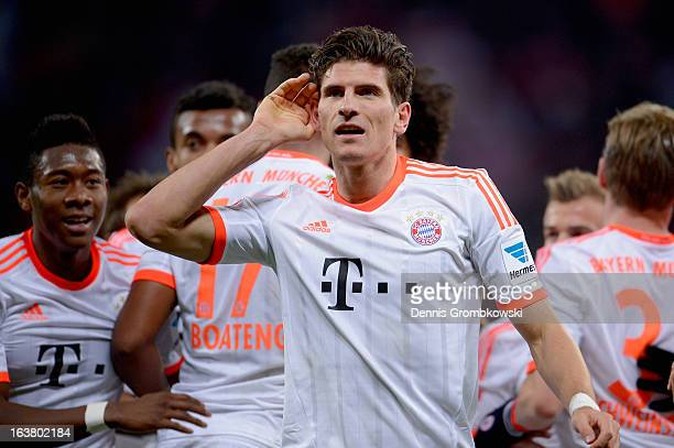 Mario Gomez of Bayern celebrates after scoring his team's first goal during the Bundesliga match between Bayer 04 Leverkusen and FC Bayern Muenchen...