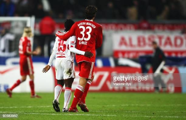 Mario Gomez of Bayern gives a hug to Arthur Boka of Stuttgart after the final whistle of the Bundesliga match between VfB Stuttgart and FC Bayern...