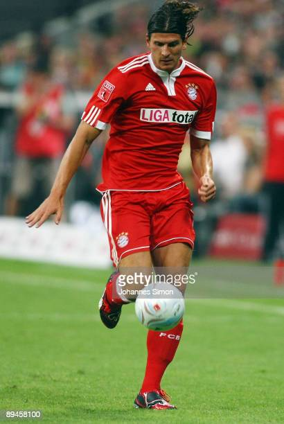Mario Gomez of Bayern in action during the Audi Cup tournament semi final match between FC Bayern Muenchen and AC Milan at Allianz Arena on July 29...