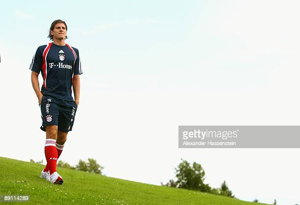 Mario Gomez of Bayern Muenchen on his way for a press conference at day three of the FC Bayern Muenchen training camp on July 20 2009 in...