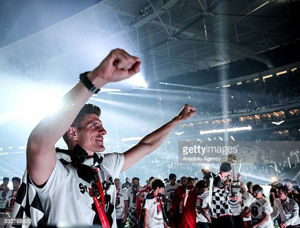 Mario Gomez of Besiktas celebrates during the Besiktas' Turkish Super Lig title trophy ceremony at the Vodafone Arena in Istanbul Turkey on May 19...