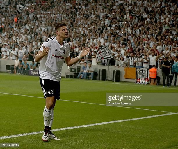 Mario Gomez of Besiktas celebrates his score during the Turkish Spor Toto Super Lig soccer match between Besiktas JK and Osmanlispor at Vodafone...