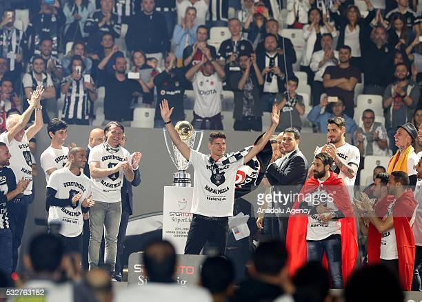 Mario Gomez of Besiktas greets fans during the Besiktas' Turkish Super Lig title trophy ceremony at the Vodafone Arena in Istanbul Turkey on May 19...