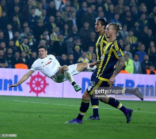Mario Gomez of Besiktas reacts during Turkish Spor Toto Super Lig football match between Fenerbahce and Besiktas at Ulker Stadium in Istanbul Turkey...