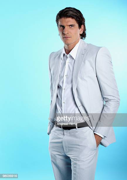 Mario Gomez of German Bundesliga football club FC Bayern Muenchen poses during a portrait session on March 16 2010 in Munich Germany