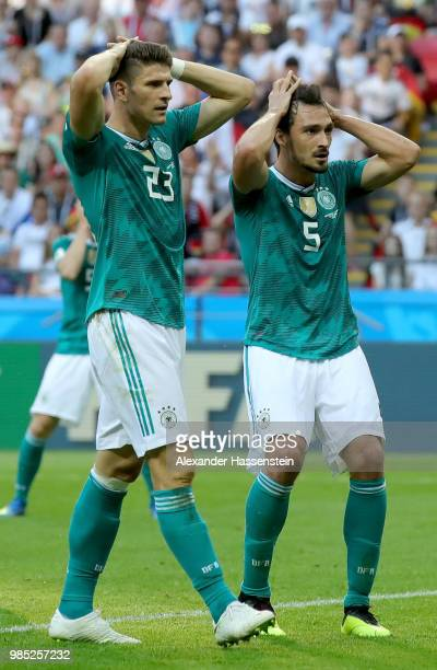 Mario Gomez of Germany and Mats Hummels of Germany react after a missed chance during the 2018 FIFA World Cup Russia group F match between Korea...