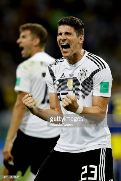 Mario Gomez of Germany celebrate after winning the match at the end of the 2018 FIFA World Cup Russia Group F match between Germany and Sweden at the...