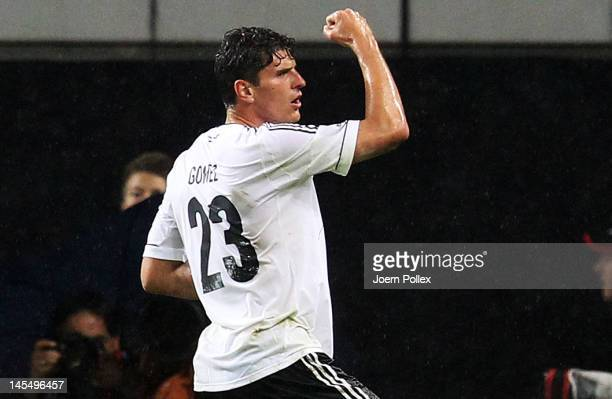 Mario Gomez of Germany celebrates after scoring his team's first goal during the international friendly match between Germany and Israel at...