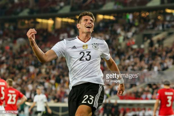 Mario Gomez of Germany celebrates after scoring his team`s goal during the FIFA 2018 World Cup Qualifier between Germany and Norway at MercedesBenz...