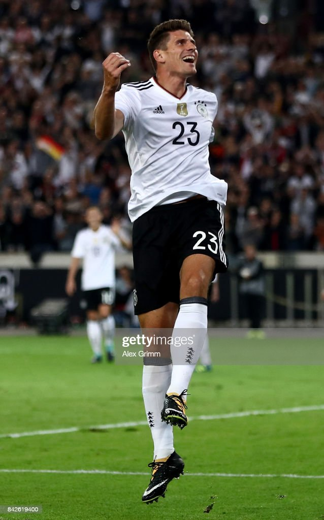 MArio Gomez of Germany celebrates after scoring his teams sixth goal during the FIFA 2018 World Cup Qualifier between Germany and Norway at Mercedes-Benz Arena on September 4, 2017 in Stuttgart, Baden-Wuerttemberg.