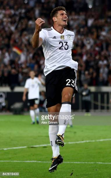 MArio Gomez of Germany celebrates after scoring his teams sixth goal during the FIFA 2018 World Cup Qualifier between Germany and Norway at...