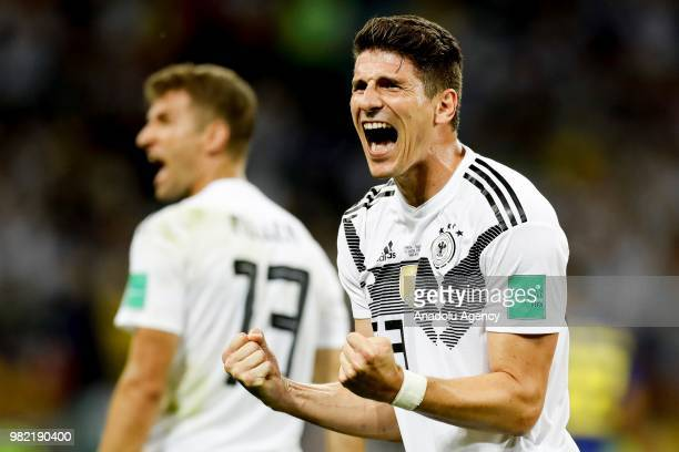 Mario Gomez of Germany celebrates after winning the match at the end of the 2018 FIFA World Cup Russia Group F match between Germany and Sweden at...