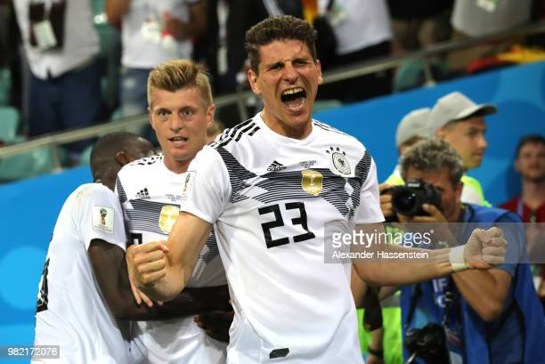 Mario Gomez of Germany celebrates the winning goal scored by Toni Kroos during the 2018 FIFA World Cup Russia group F match between Germany and...