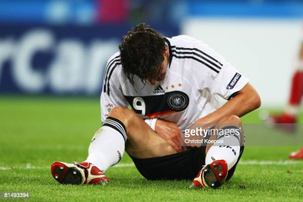 Mario Gomez of Germany checks for an injury during the UEFA EURO 2008 Group B match between Germany and Poland at Worthersee Stadion on June 8, 2008...