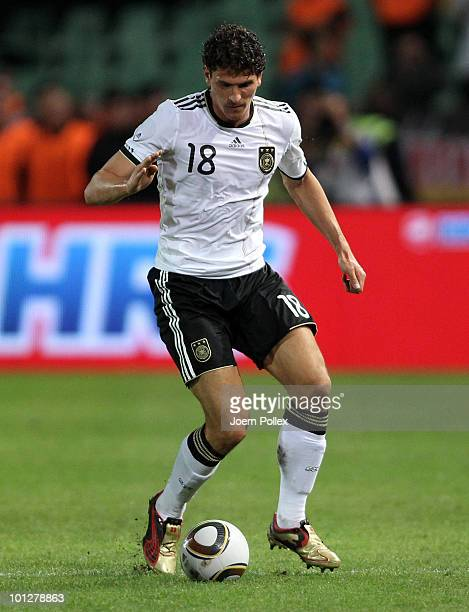 Mario Gomez of Germany controls the ball during the international friendly match between Hungary and Germany at the Ferenc Puskas Stadium on May 29...