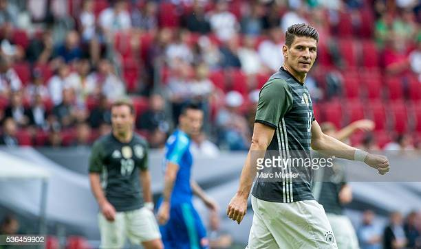 Mario Gomez of Germany during the international friendly match between Germany and Slovakia at WWKArena on May 29 2016 in Augsburg Germany starts