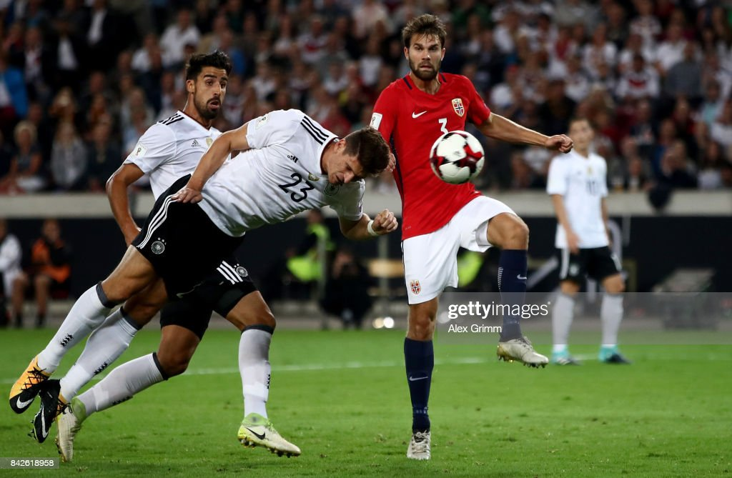 Mario Gomez of Germany heads his teams sixth goal during the FIFA 2018 World Cup Qualifier between Germany and Norway at Mercedes-Benz Arena on September 4, 2017 in Stuttgart, Baden-Wuerttemberg.