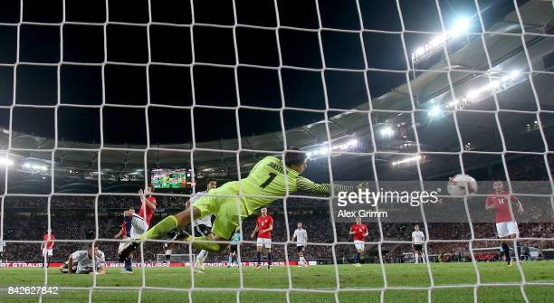 Mario Gomez of Germany heads his teams sixth goal during the FIFA 2018 World Cup Qualifier between Germany and Norway at MercedesBenz Arena on...