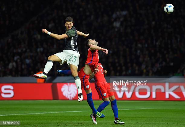 Mario Gomez of Germany heads the ball during the International Friendly match between Germany and England at Olympiastadion on March 26 2016 in...