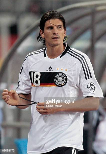 Mario Gomez of Germany is shown in action during the international friendly match between China and Germany at Shanghai Stadium on May 29 2009 in...