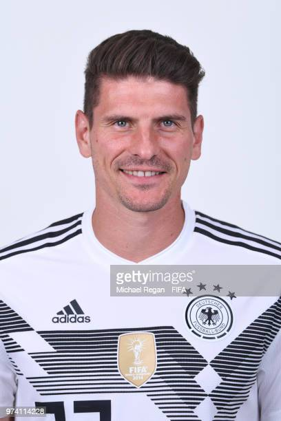 Mario Gomez of Germany pose for a photo during the official FIFA World Cup 2018 portrait session on June 13 2018 in Moscow Russia