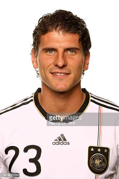 Mario Gomez of Germany poses during the official Fifa World Cup 2010 portrait session at Velmore Hotel on June 8 2010 in Pretoria South Africa