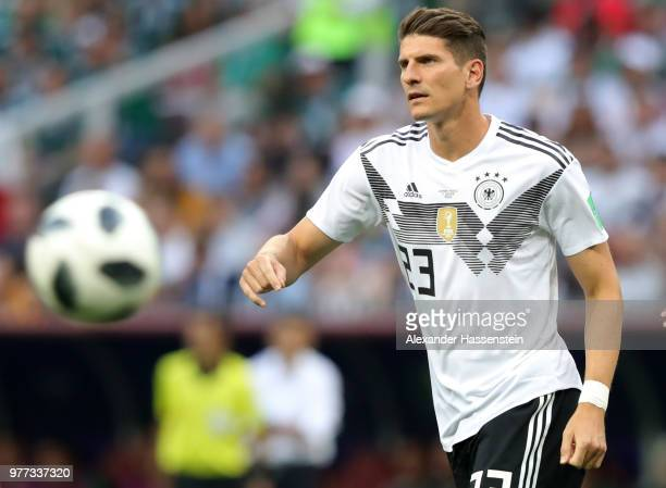 Mario Gomez of Germany runs with the ball during the 2018 FIFA World Cup Russia group F match between Germany and Mexico at Luzhniki Stadium on June...
