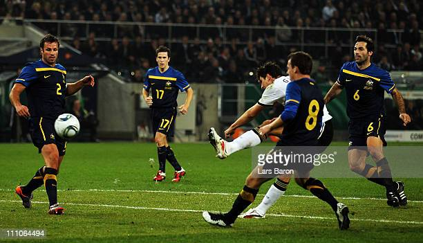 Mario Gomez of Germany scores his teams first goal during the international friendly match between Germany and Australia at Borussia-Park on March...