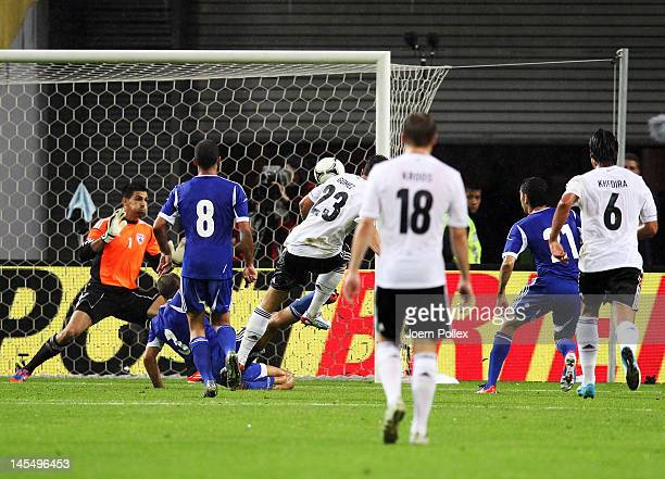 Mario Gomez of Germany scores his team's first goal during the international friendly match between Germany and Israel at Zentralstadion on May 31,...