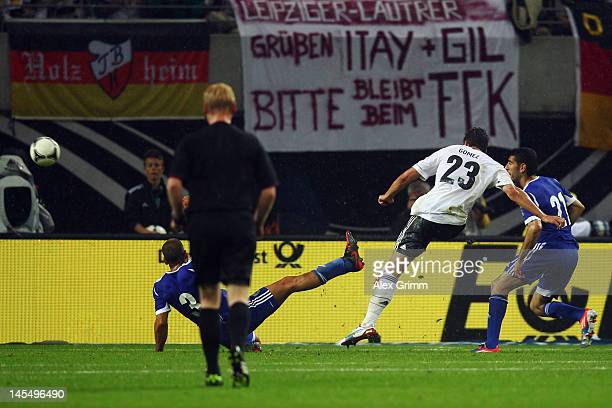 Mario Gomez of Germany scores his team's first goal during the international friendly match between Germany and Israel at Zentralstadion on May 31...