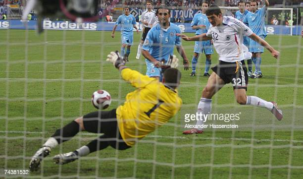 Mario Gomez of Germany scores the 4th goal during the UEFA EURO 2008 qualifier between Germany and San Marino at the Easy Credit stadium on June 2007...