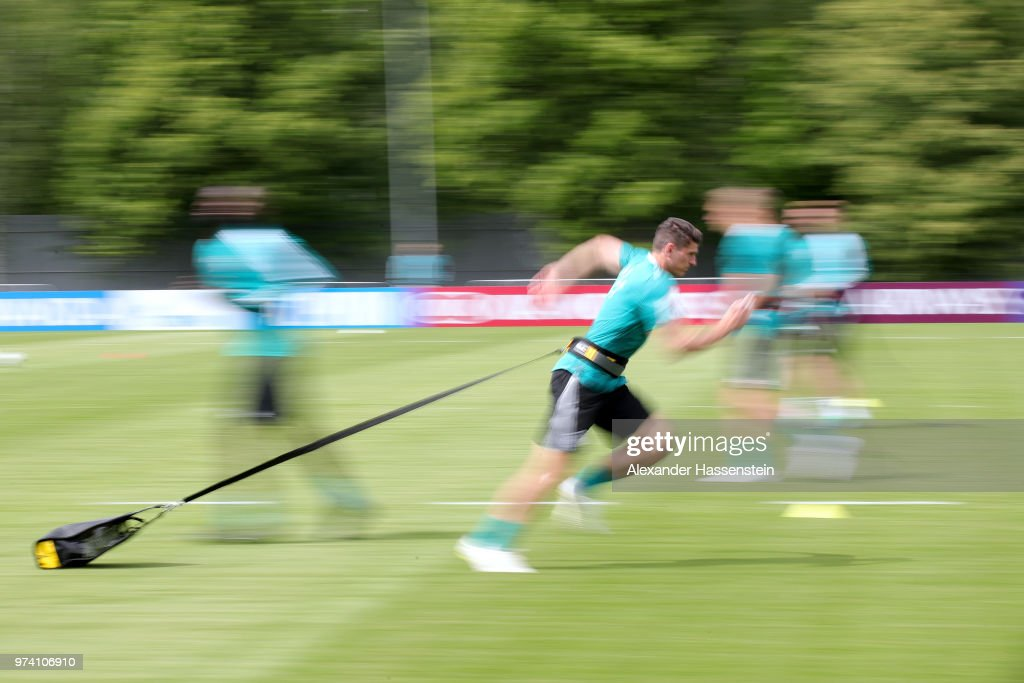 Mario Gomez of Germany trains during the Germany training session ahead of the 2018 FIFA World Cup at CSKA Sports Base on June 14, 2018 in Moscow, Russia.
