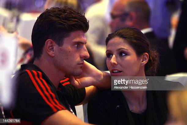 Mario Gomez of Muenchen and Silvia Meichel during the Bayern Muenchen party at Telekom representative office on May 13 2012 in Berlin Germany