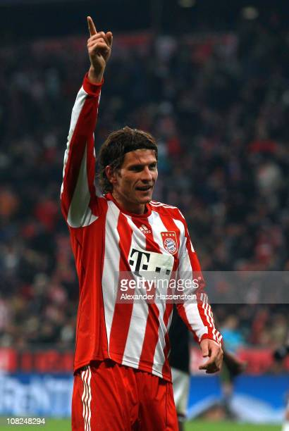 Mario Gomez of Muenchen celebrates scoring his third team goal during the Bundesliga match between FC Bayern Muenchen and 1 FC Kaiserslautern at...