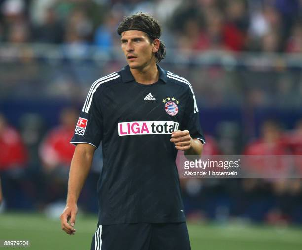 Mario Gomez of Muenchen looks on during the pre-season friendly match between Red Bull Salzburg and FC Bayern Muenchen at the Red Bull Arena on July...
