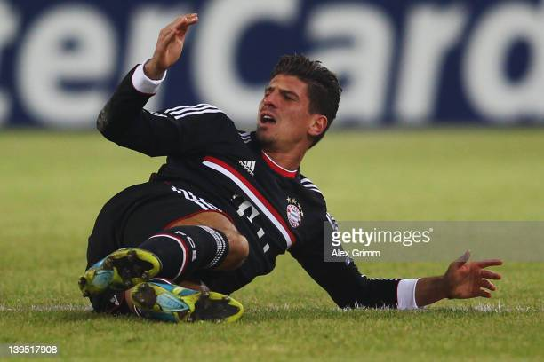 Mario Gomez of Muenchen reacts during the UEFA Champions League Round of 16 first leg match between FC Basel 1893 and FC Bayern Muenchen at St...