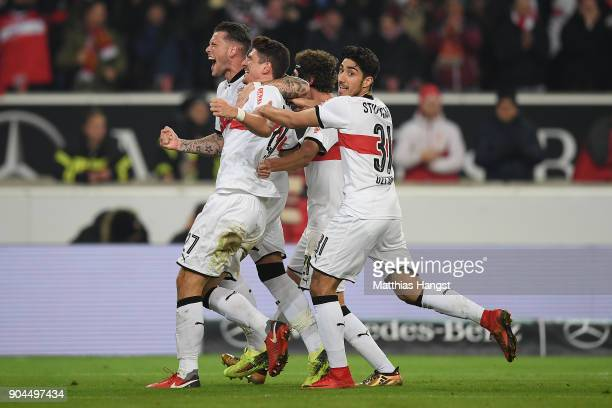 Mario Gomez of Stuttgart celebrates after Niklas Stark of Berlin scored an own goal to make it 10 during the Bundesliga match between VfB Stuttgart...