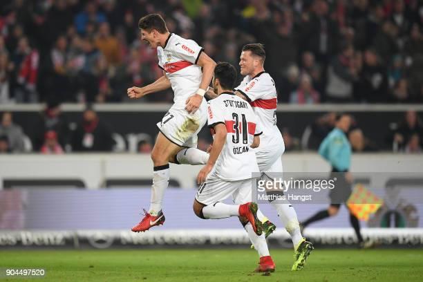 Mario Gomez of Stuttgart celebrates after Niklas Stark of Berlin scored an own goal to make it 10 during the Bundesliga match between VfB Stuttgart...