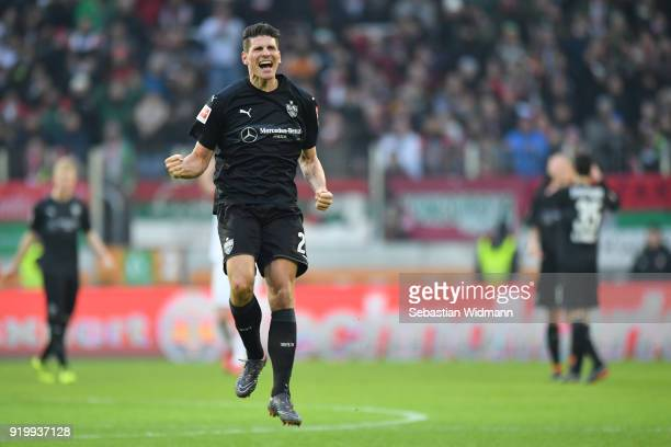 Mario Gomez of Stuttgart celebrates at the final whistle during the Bundesliga match between FC Augsburg and VfB Stuttgart at WWKArena on February 18...